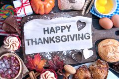 Happy thanksgiving meal royalty free stock photos