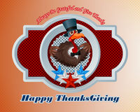 Happy Thanksgiving message and cartoon of a pompous turkey, wearing a top hat and bow-tie Stock Images