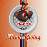 Happy Thanksgiving message and cartoon turkey wearing a farmer hat and bow-tie Royalty Free Stock Image