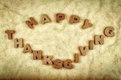 Happy Thanksgiving. Message. Computer added dirt, scratches and vignette. Vintage style photo Royalty Free Stock Photos