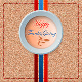 Happy Thanksgiving message on sewing linen/jute fabric. Happy Thanksgiving, graphic background with decorative medallion on sewing linen/jute fabric and linear Stock Photography