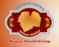 Happy Thanksgiving, message with vine leave Royalty Free Stock Image