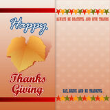 Happy Thanksgiving message with vine leave Royalty Free Stock Photo