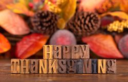 Happy Thanksgiving Message With Colorful Autumn Backgroun stock image