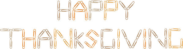 Happy Thanksgiving multi colored paperclips stock photos