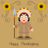 Happy Thanksgiving - Native Man with Spear Royalty Free Stock Image