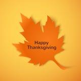 Happy Thanksgiving. Orange maple leaf Stock Images