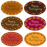 Happy Thanksgiving oval labels Stock Photos