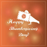Happy Thanksgiving. The pigeon with the letter. Thank you. Vintage Design Thanksgiving celebration elements can be use as flyer, p Stock Photos