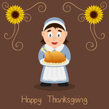Happy Thanksgiving - Pilgrim Housewife Stock Images