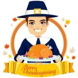 Happy Thanksgiving Pilgrim Man Stock Photography