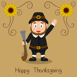Happy Thanksgiving - Pilgrim Man with Rifle Stock Image