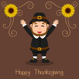 Happy Thanksgiving - Pilgrim Man Smiling Stock Photo