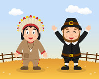 Happy Thanksgiving Pilgrim & Native Men Royalty Free Stock Photos
