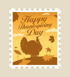 Happy Thanksgiving postage stamp. Royalty Free Stock Photos