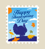 Happy Thanksgiving postage stamp. Royalty Free Stock Photography