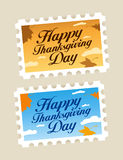 Happy Thanksgiving postage stamps. Stock Image