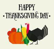 Happy thanksgiving postcard. With vegetables and turkey Stock Photography