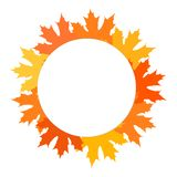 Happy Thanksgiving poster, card with empty circle. Wreath of colorful autumn leaves illustration. Thanksgiving Day postcard royalty free illustration