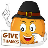 Happy Thanksgiving Pumpkin with Hat Stock Photo