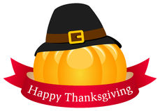 Happy Thanksgiving Pumpkin with Ribbon Royalty Free Stock Images