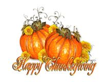 Happy Thanksgiving pumpkins gold text royalty free stock photography