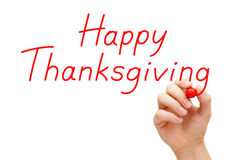 Happy Thanksgiving Red Marker. Hand writing Happy Thanksgiving with red marker on transparent wipe board stock photos