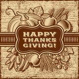 Happy Thanksgiving Retro Card Brown Stock Photography