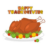 Happy Thanksgiving. Roasted turkey. fowl on plate. Baked wildfow Royalty Free Stock Photography