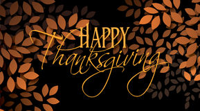 Happy Thanksgiving sentiment with leaves. Graphic illustration of the sentiment Happy Thanksgiving composed against simple leaf background in warm color tones Royalty Free Stock Photography