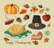 Happy Thanksgiving set. Of elements for design. Vector illustration Stock Photography