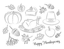 Happy Thanksgiving set. Of elements for design. Vector illustration Royalty Free Stock Photography