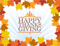 Happy thanksgiving sign illustration over leaves Stock Photo