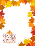 Happy thanksgiving sign illustration over leaves Royalty Free Stock Image