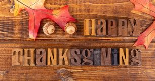 Happy Thanksgiving Sign With Oak Leaf and Acorns stock photos