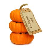 Happy Thanksgiving. Stack of mini pumpkins with Happy Thanksgiving tag on a white background Royalty Free Stock Photography