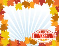 Happy thanksgiving stamp leaves border and rays Stock Photo