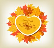 Happy Thanksgiving sticker, heart shape label beautiful maple leaves Royalty Free Stock Photos