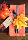 Happy Thanksgiving table place setting in orange on dark wood - vertical. Royalty Free Stock Photography