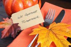 Happy Thanksgiving table place setting - orange theme closeup Royalty Free Stock Photos