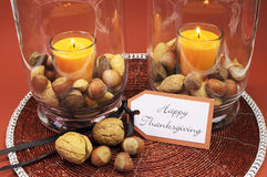 Happy Thanksgiving table setting centerpiece Royalty Free Stock Photo