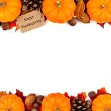 Happy Thanksgiving tag with autumn double border over white. Happy Thanksgiving tag with autumn double border of pumpkins, leaves and nuts isolated on white