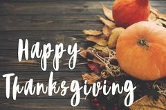 Happy Thanksgiving Text on beautiful composition of Pumpkin, aut Royalty Free Stock Photo