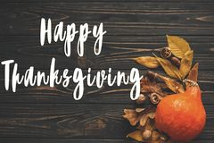Happy Thanksgiving Text on beautiful Pumpkin with bright autumn Royalty Free Stock Photo