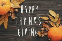 Happy Thanksgiving Text on beautiful Pumpkin with bright autumn stock photo