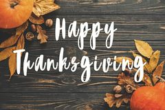 Happy Thanksgiving Text on beautiful Pumpkin with bright autumn Stock Photos