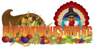 Happy Thanksgiving Text with Cornucopia Pilgrim Turkey. Happy Thanksgiving Text Cornucopia with Bountiful Fall Harvest and Pilgrim Turkey Isolated on White Royalty Free Stock Photography