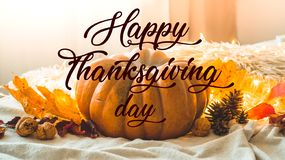 Happy thanksgiving text. In home decorated Pumpkin, cones, walnuts and autumn leaves garland. autumn fall holidays. Cozy mood stock images