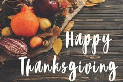 Happy Thanksgiving Text on Pumpkin, autumn vegetables with color Stock Images