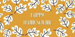 Happy Thanksgiving text vector with fall leaves stock illustration